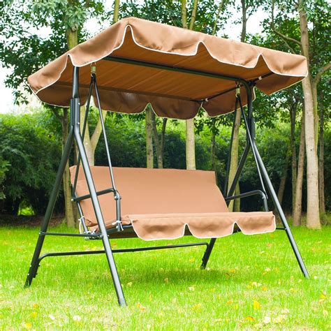 childrens swing bench outsunny swing chair 3 seater cushioned bench brown
