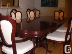 leda cherry wood dining room set table 8 chairs l6h