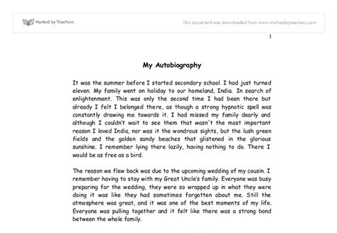 my biography essay my autobiography gcse english marked by teachers com