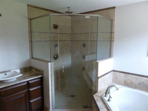 half wall frameless shower enclosure frameless glass shower bgs glass services llc waukesha wisconsin