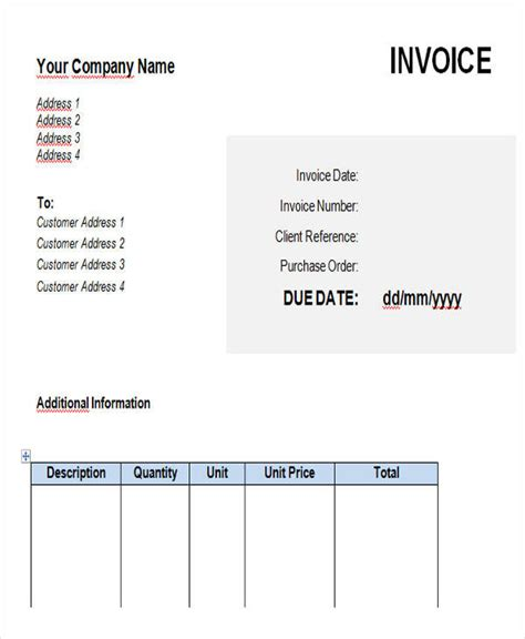 18 free contractor invoices