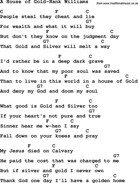 house of gold lyrics country southern and bluegrass gospel song a house of gold hank williams lyrics with
