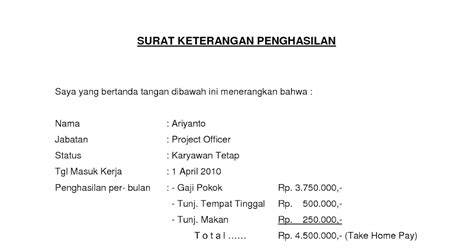 contoh surat keterangan penghasilan atau slip gaji karyawan