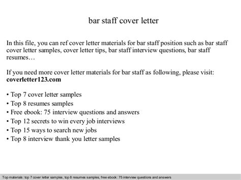 Cover Letter For Bar With No Experience Bar Staff Cover Letter