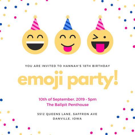 Colorful Emoji Confetti 18th Birthday Invitation Templates By Canva Emoji Birthday Card Template
