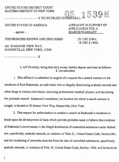 Exle Of Search Warrant Kirk Radomski Search Warrant Affidavit The Gun