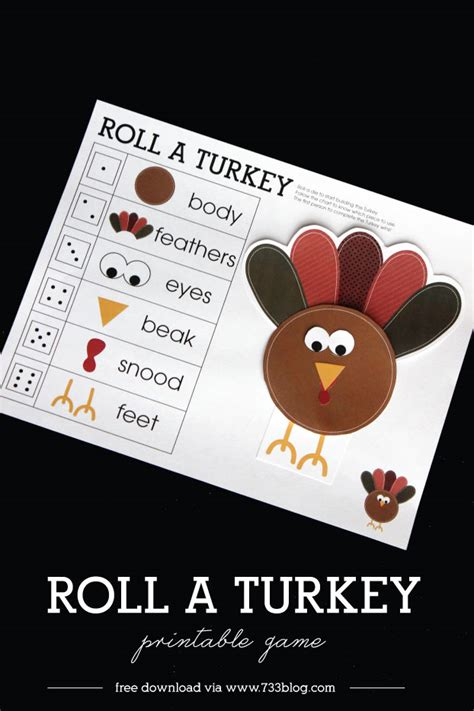 printable roll a turkey roll a turkey children s game inspiration made simple