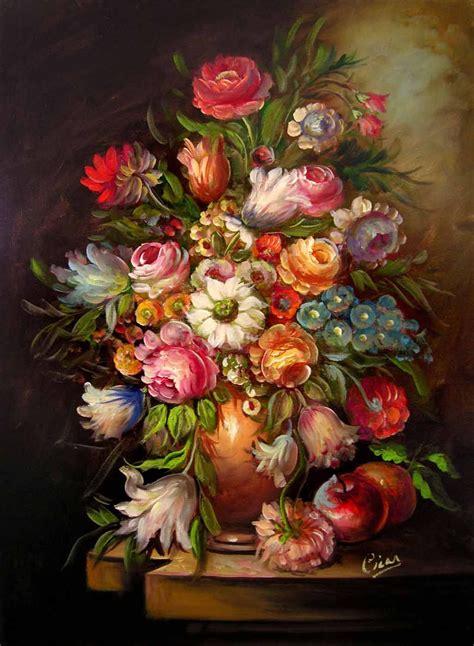 vaso con fiori vaso con fiori c14 quadro pittore cicas sedna arte