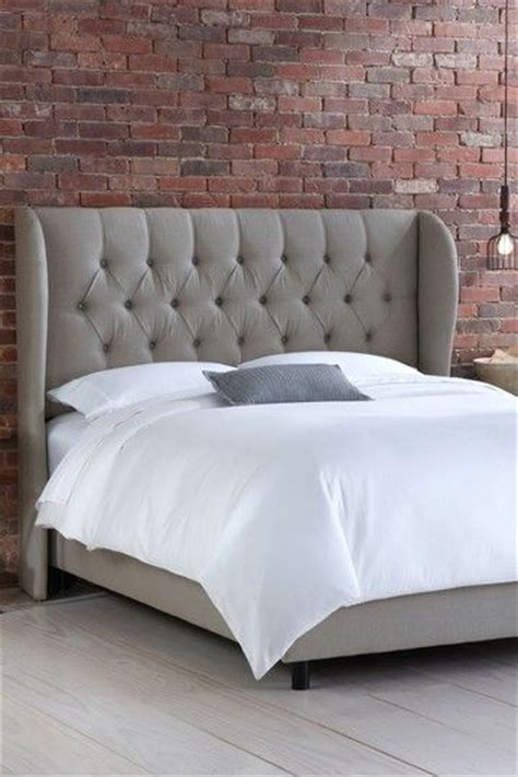 grey tufted wingback bed furnish pinterest