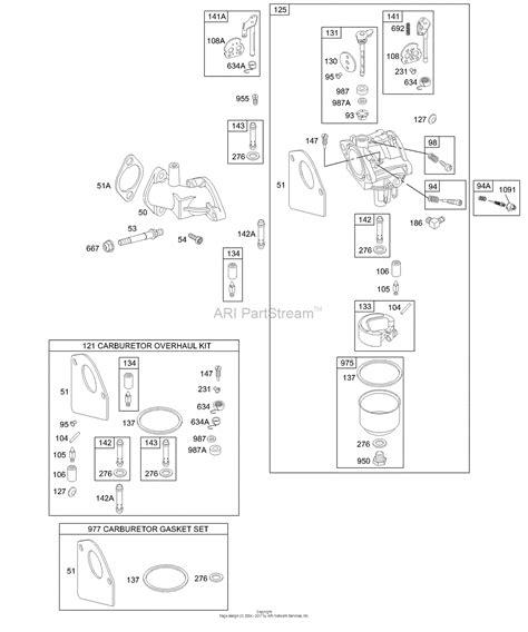 briggs carb diagram briggs and stratton 195707 0153 01 parts diagram for