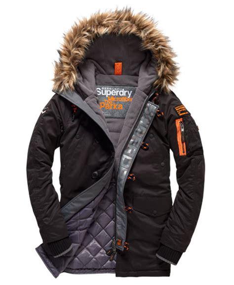 Parka Army Six Pocket mens microfibre parka coat in black superdry