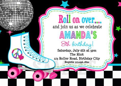 roller skating invitation template printable birthday invitations roller skating