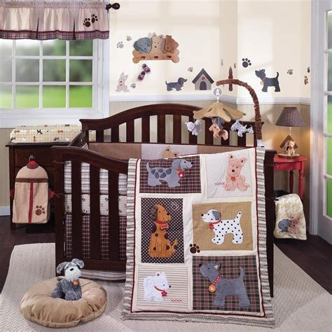 puppy crib 6pc crib bedding set boys puppies lambs and woof animal multi color ebay