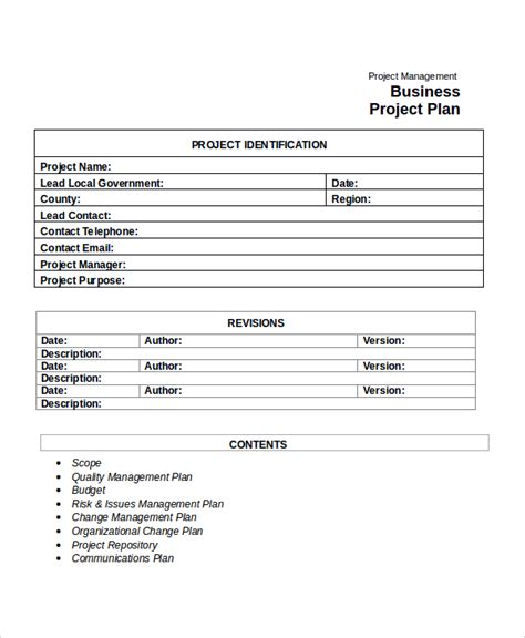 Template Business Project Plan | project plan template 10 free word pdf document