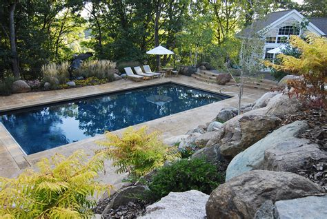 Rectangular Backyard Landscaping Ideas Rectangular Pool Designs Homesfeed