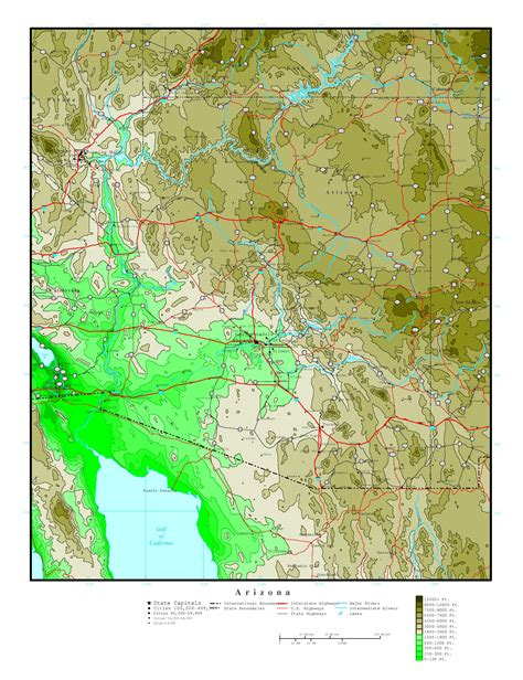 altitude map of usa large detailed elevation map of arizona state with roads