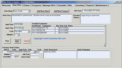 work order database template work order template database blue claw database