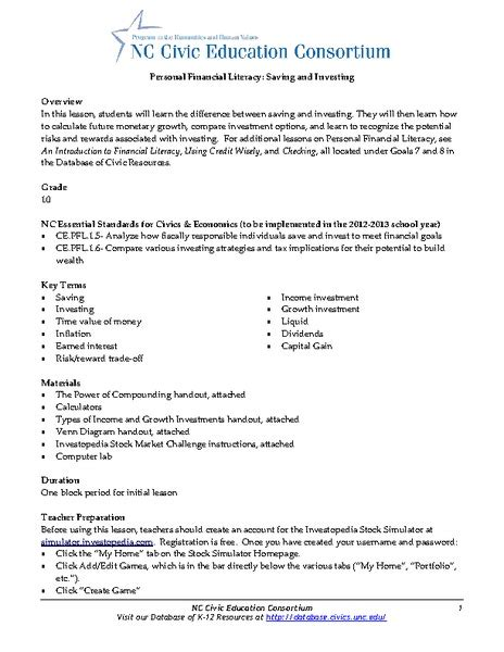 Investing Math Worksheet by Pictures Financial Literacy Worksheets Getadating