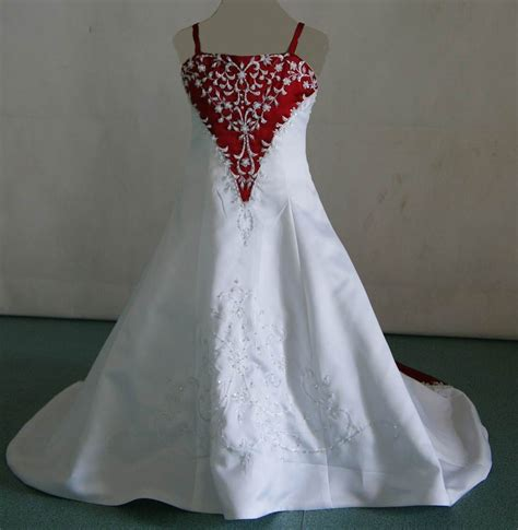 red  white baby wedding dresses