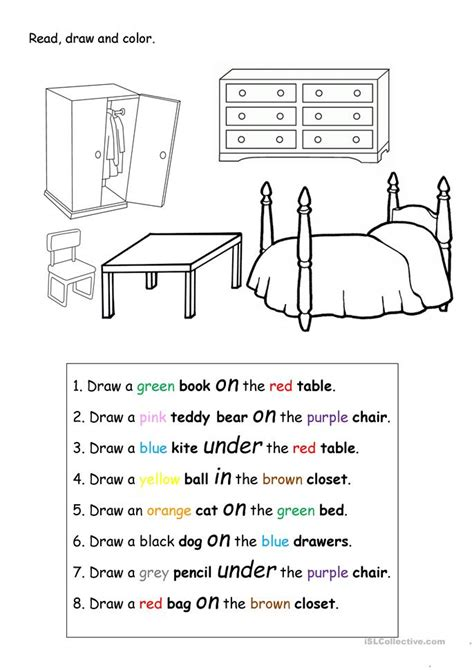 drawing activities read draw and color worksheet free esl printable