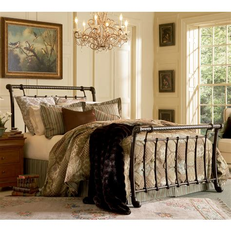 iron sleigh bed legion iron sleigh bed ancient gold finish traditional design