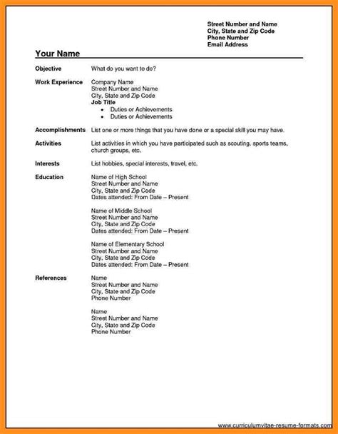 form of cv in for 6 cv form pdf fillin resume