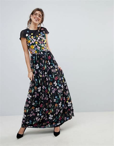 baker fiori lyst ted baker embroidered floral mariz maxi dress in black