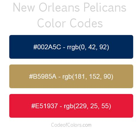 new orleans pelicans colors hex and rgb color codes