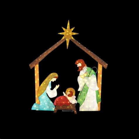 outdoor lighted nativity displays home accents 66 in led lighted tinsel nativity ty762 1614 0 the home depot