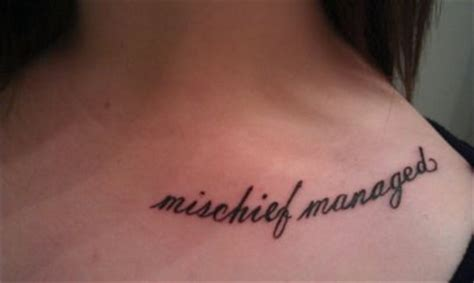 mischief managed tattoo mischief managed on collarbone