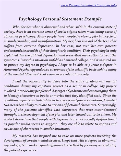 psychology graduate school personal statement example 12 clinical