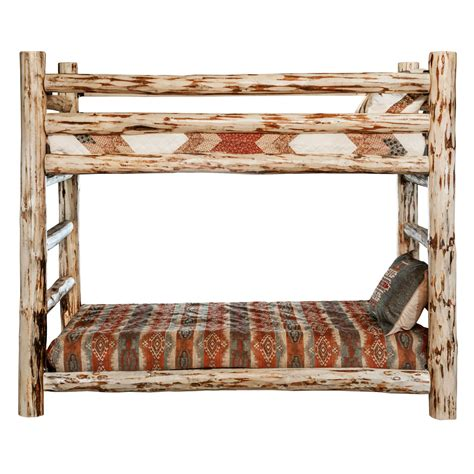 rustic bunk beds log beds lacquer finish hand peeled rustic twin size log