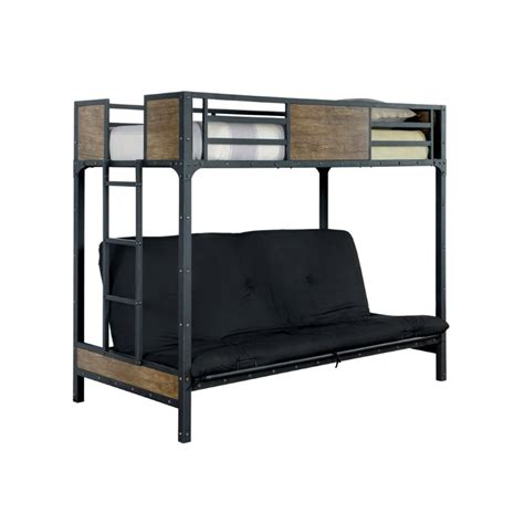 twin bunk beds with mattress included furniture of america baron twin loft bed in black idf