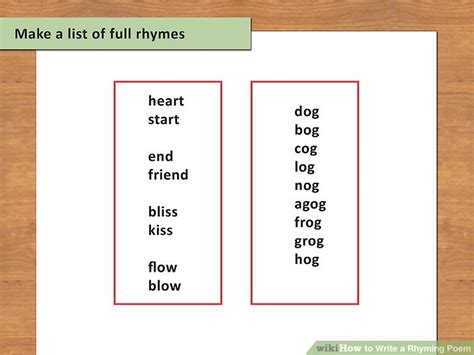 how to write a rhyming poem 12 steps with pictures