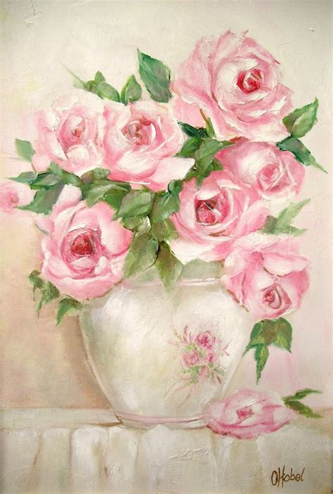 romantic country and rose paintings rose vase shabby chic style print by artist chris hobel