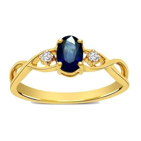 sapphire and infinity engagement ring in yellow