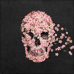 Fabric Flower Rings - black and pink floral skull shower curtain sugar skull