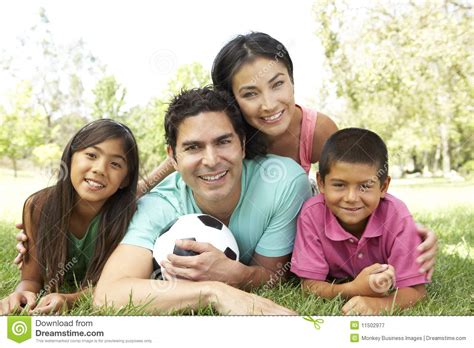 hispanic pictures hispanic family in park with soccer royalty free