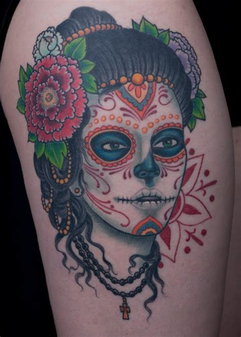 day of the dead skull tattoo of the dead skull day purple