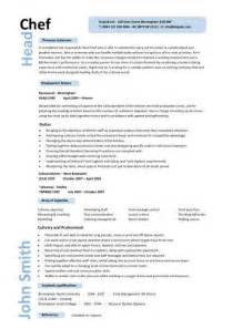 Resume Sle For Chef by Chef Resume Templates Exles Description Cooking Sous Managing Staff