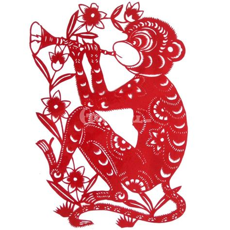 new year paper cutting template monkey 猴 monkey paper cutting paper cutting 剪纸