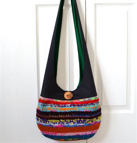Patchwork Sling Bag - hobo bag sling bag knitted patchwork neon colorful by