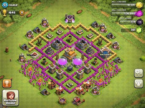 toqn hall 7 baise image top 10 clash of clans town hall level 7 defense base design