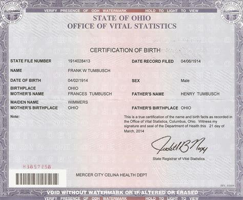 Ohio Birth Records Tumbush The Spiraling Chains Schroeder Tumbush Family Trees