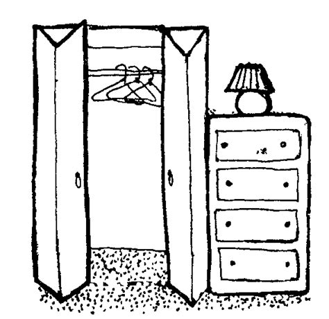 coloring page of a dresser closet clipart clipart suggest