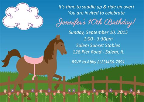 horse birthday party invitations printable or digital file horseback riding birthday invitation digital file horse