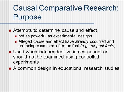 comparative research paper causal comparative research purpose ppt
