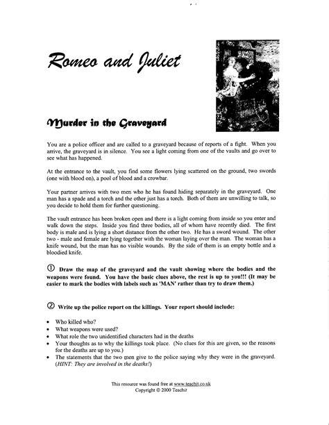 Romeo And Juliet Act 1 Worksheet by Romeo Juliet Act V Mrs Pilgreen S I Website