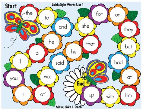 printable sight word board games spring themed sight word game boards make take teach