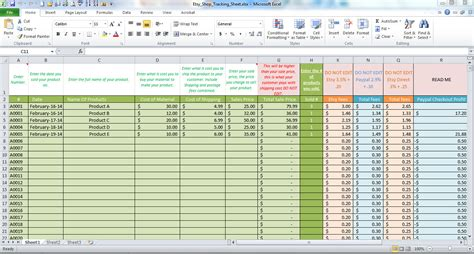 Etsy Spreadsheet by Etsy Business Profit And Order Tracking Worksheet For By
